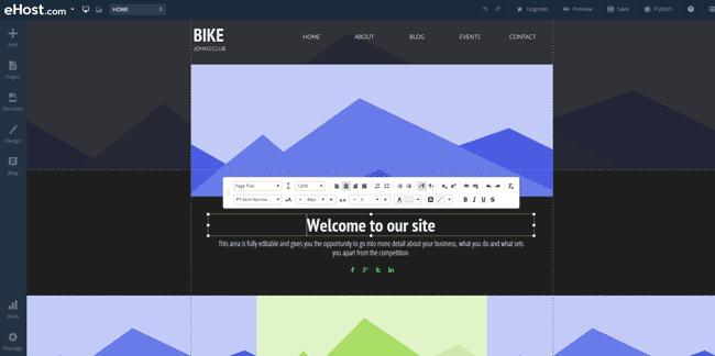 eHost's Website Builder Interface