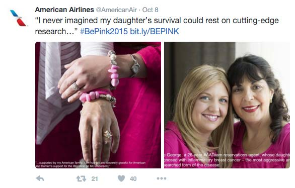 Heartfelt Tweet by American Airlines