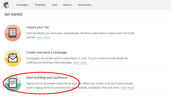 Start building your audience