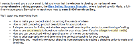 Sarah Peterson's email about her Etsy course.