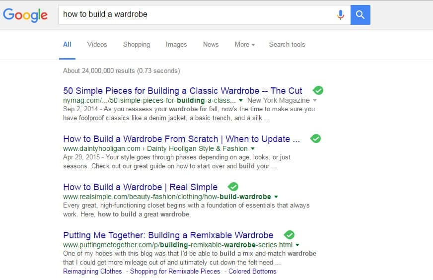 Google SERP: How To Build a Wardrobe
