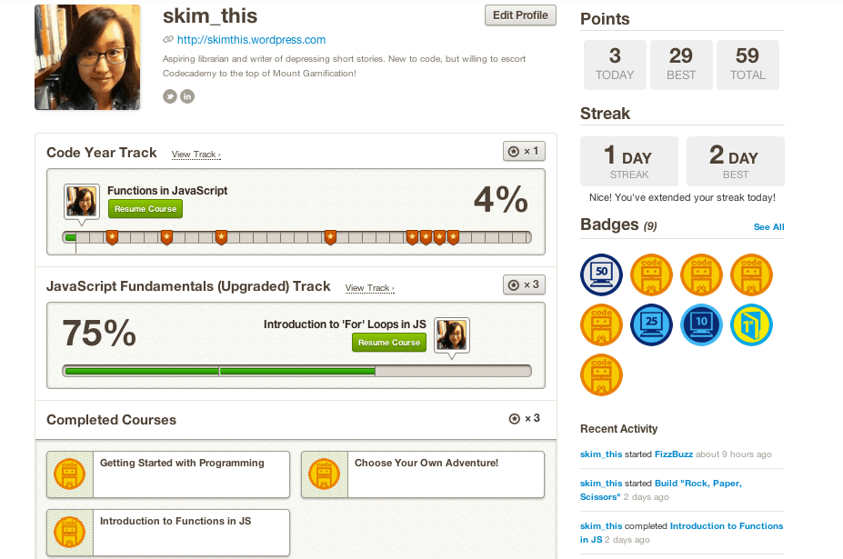 codecademy gamification