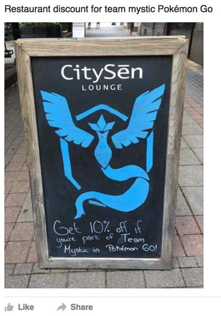 Discount for Team Mystic