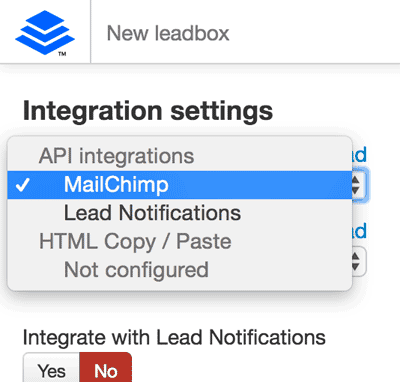 Choose MailChimp