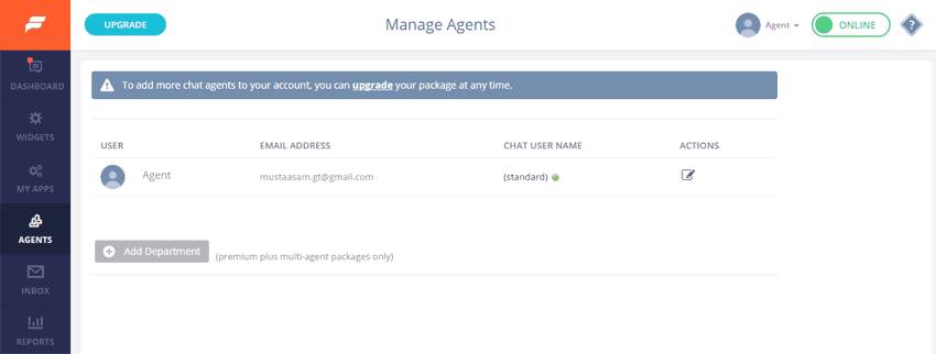 Manage agents