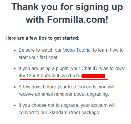 Receive your Formilla ID through email