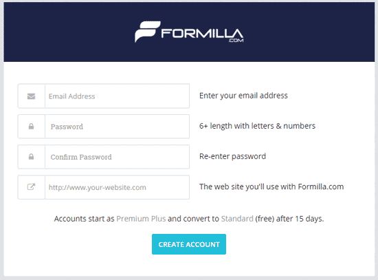 Create an account on Formilla
