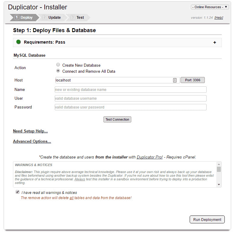 Install WordPress Duplicator