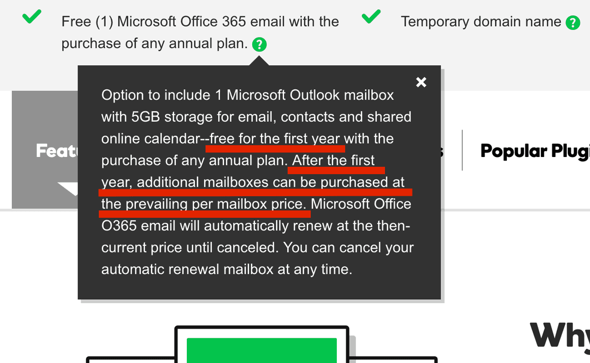 Microsoft 365 mailbox only free for the first year