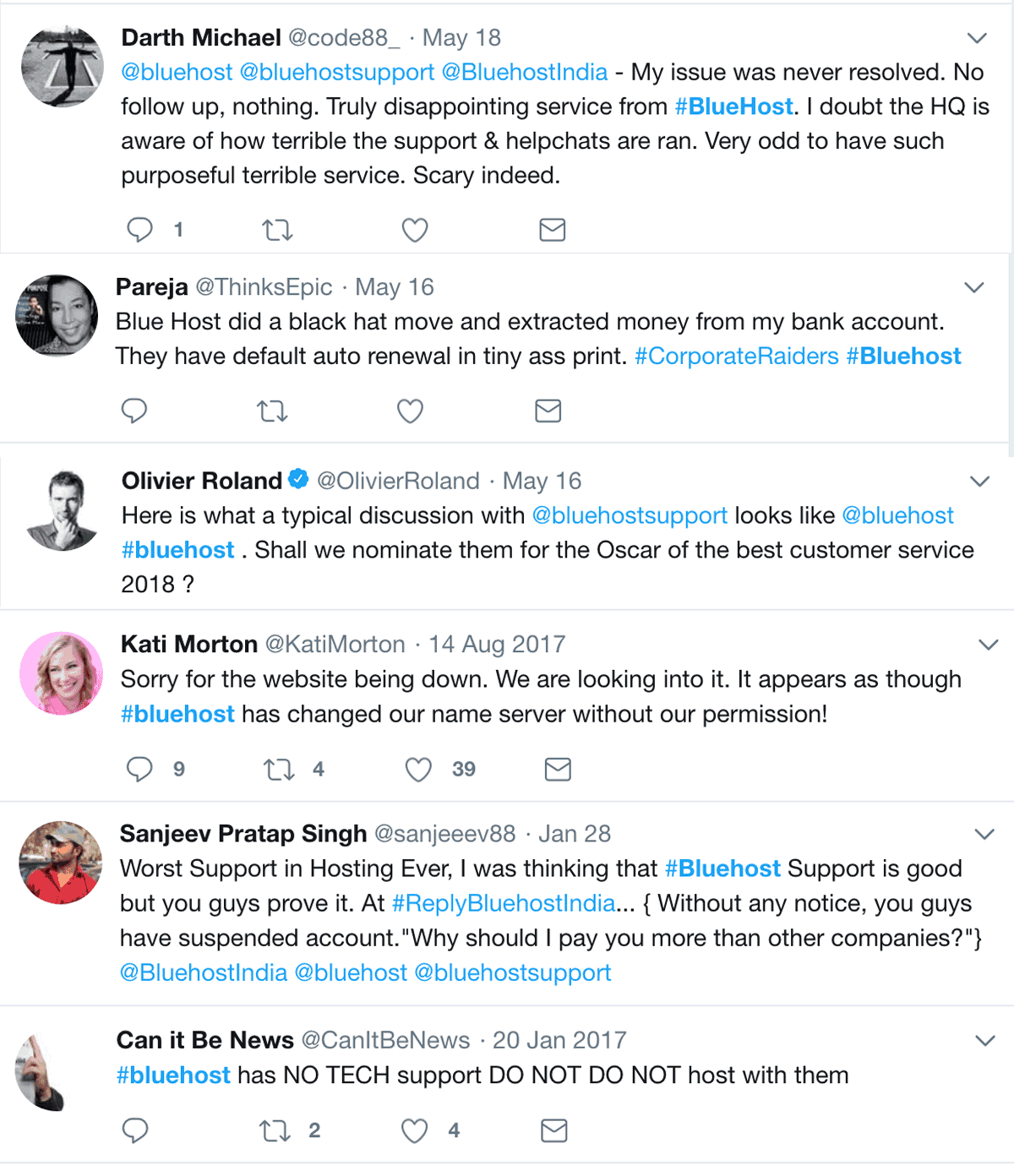Twitter Opinion on Bluehost