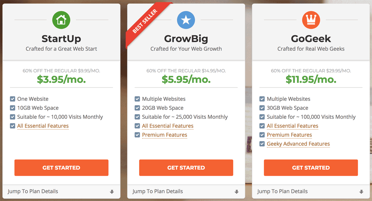 SiteGround Shared Host Pricing