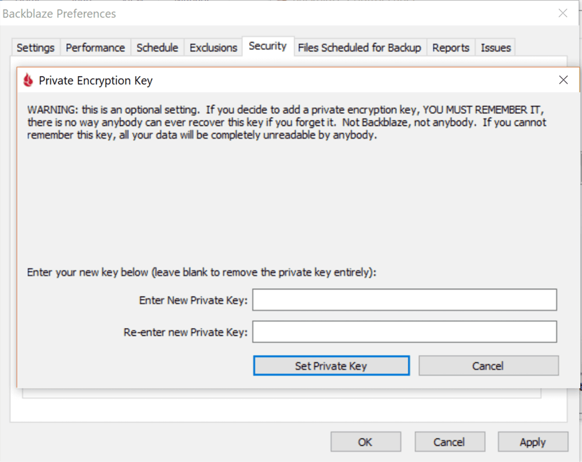 Blackblaze Private Encryption Settings