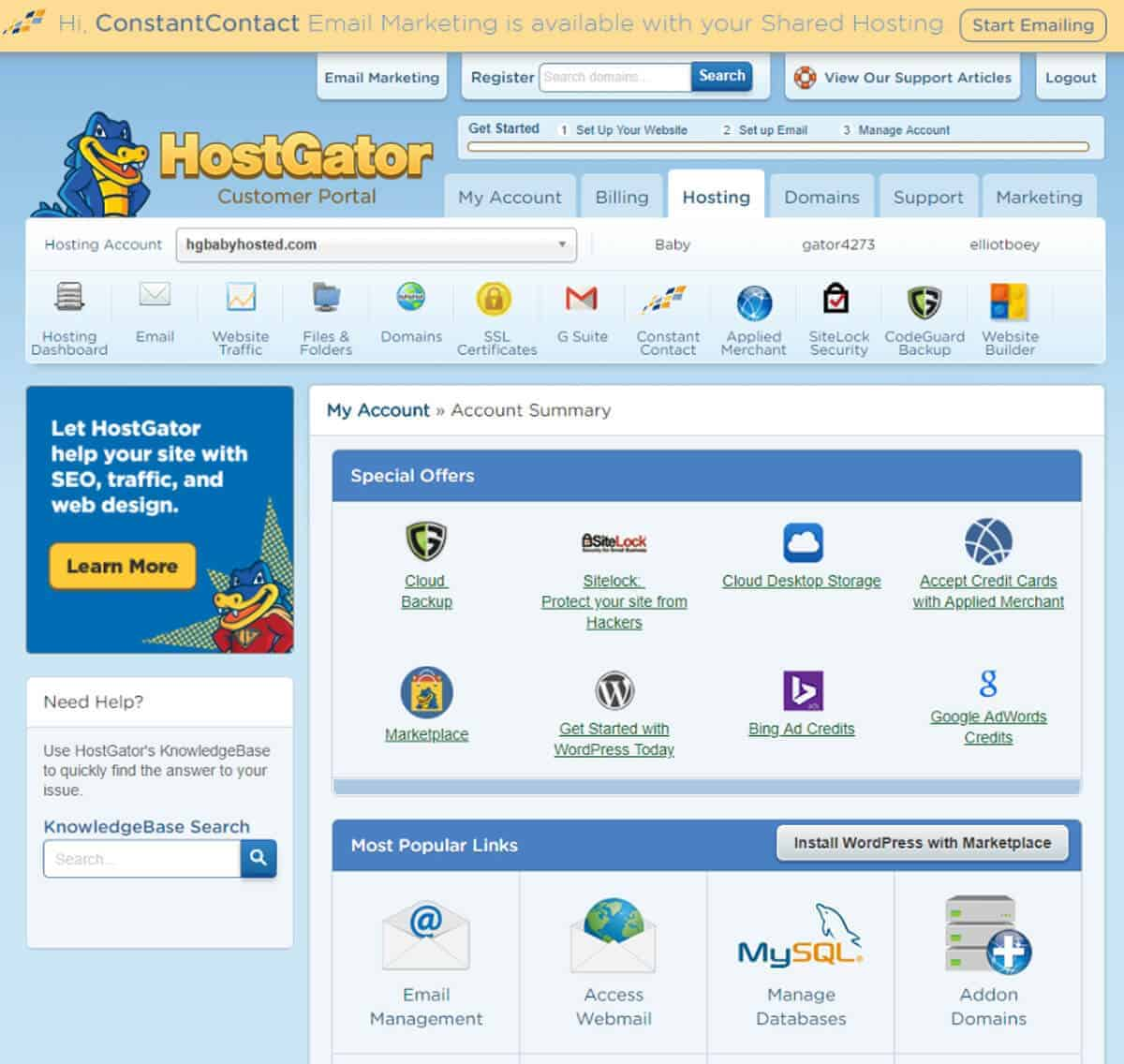 HostGator user interface