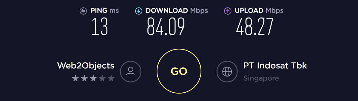 Speed test result on Singapore server