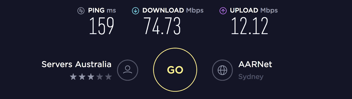 Speed test result on Sydney server