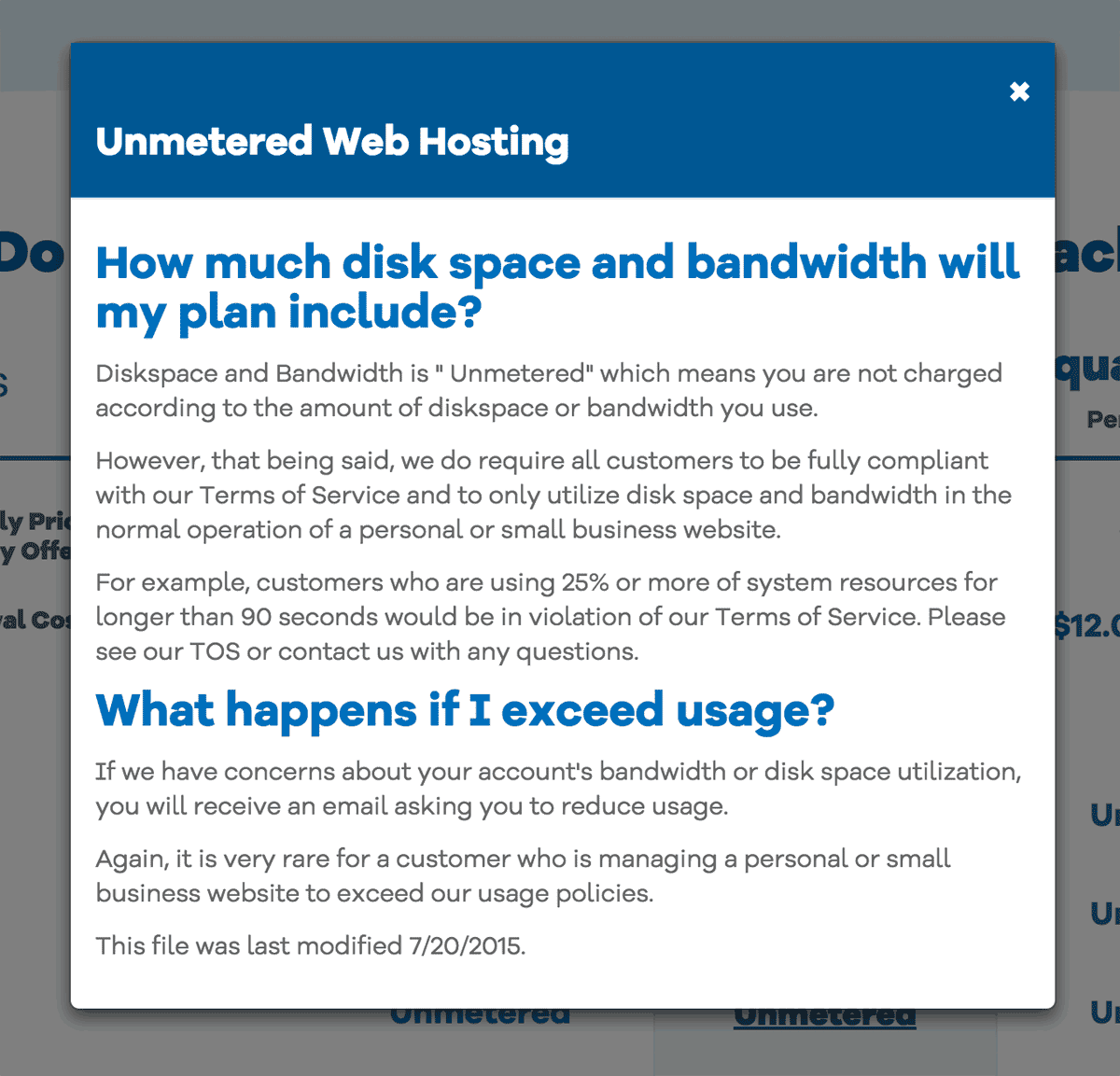HostGator Unlimited Storage and Bandwidth Term os Service