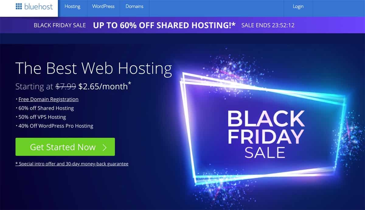Bluehost Black Friday Cyber Monday Sale 2018
