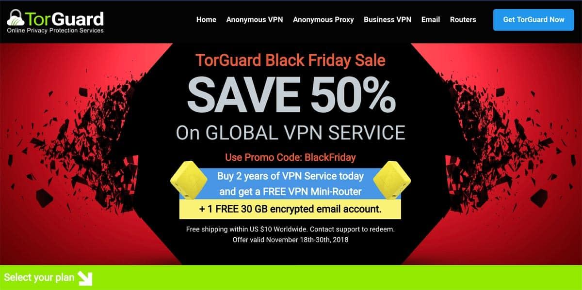 TorGuard Black Friday Deals 2018 - 50% Lifetime Savings