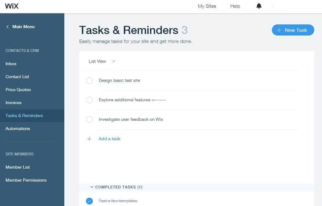 Wix Tasks and Reminders