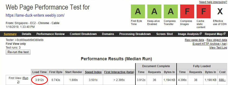 Weebly WebPageTest Results