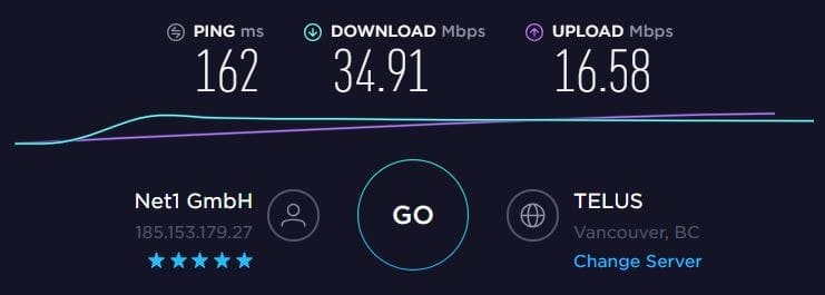 NordVPN Speed Test - Canada