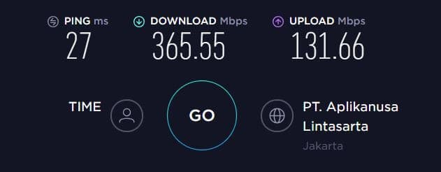 baseline speed test result - Indonesia