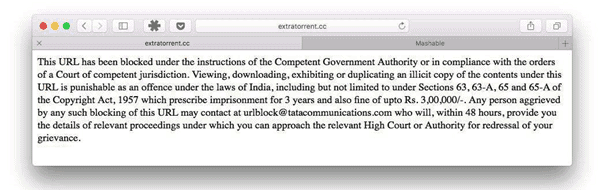 Warning Site Banned - India