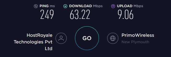 IPVanish VPN Speed Test - New Zealand