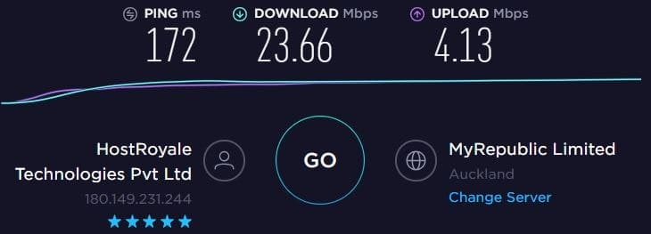 NordVPN Speed Test - New Zealand