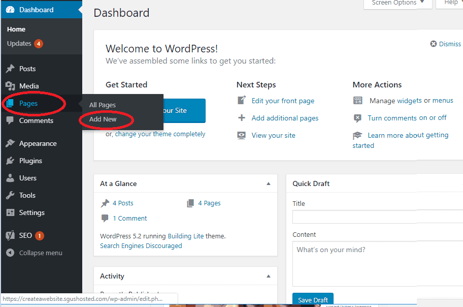 add wordpress page