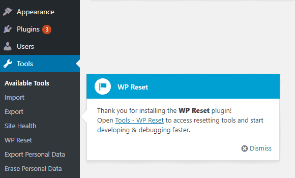 WP Reset Installed