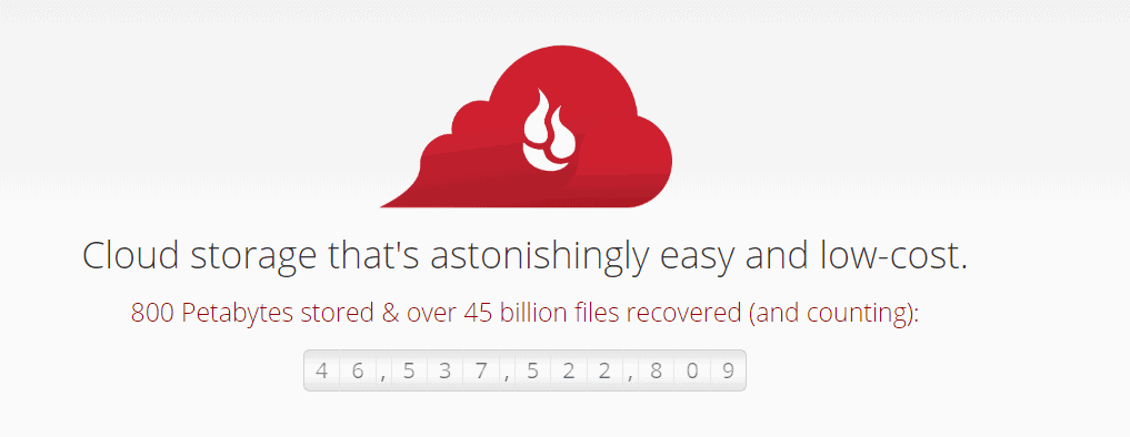 backblaze homepage