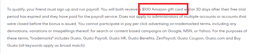 gusto payroll reward amazon gift card for referral