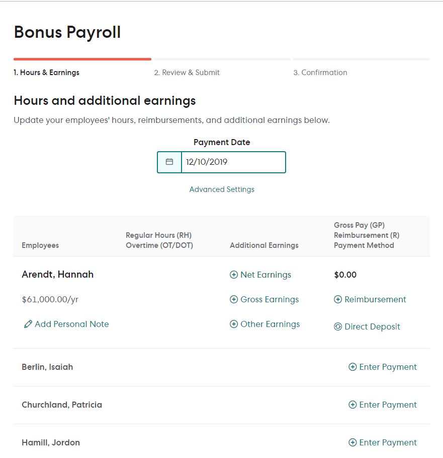 gusto payroll has bonus payroll option