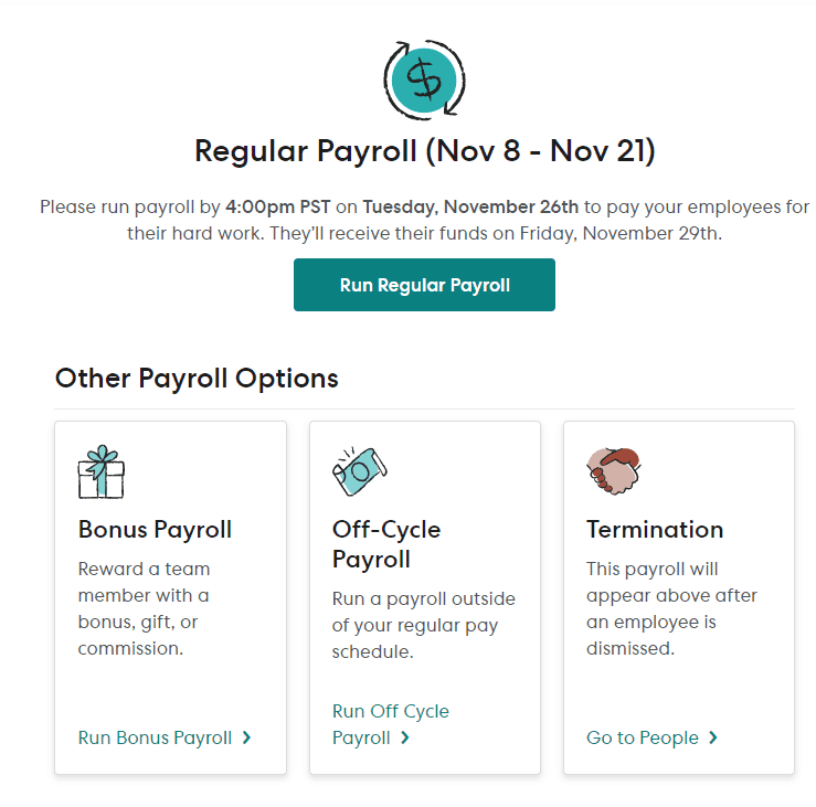 gusto payroll lets you run 4 types of payroll