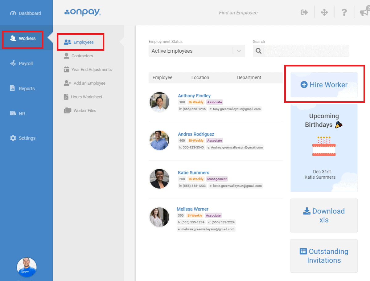 onpay payroll easy to add employees