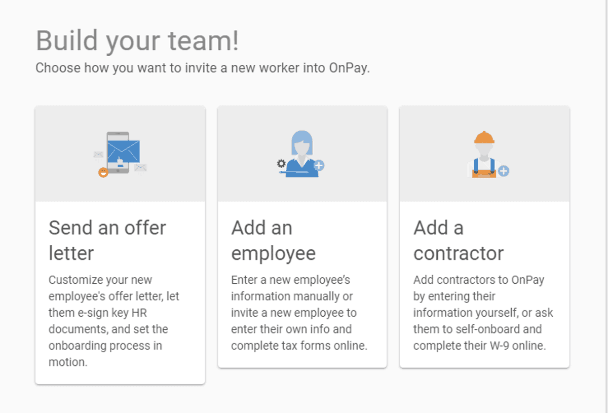 onpay payroll has options for hiring new employee