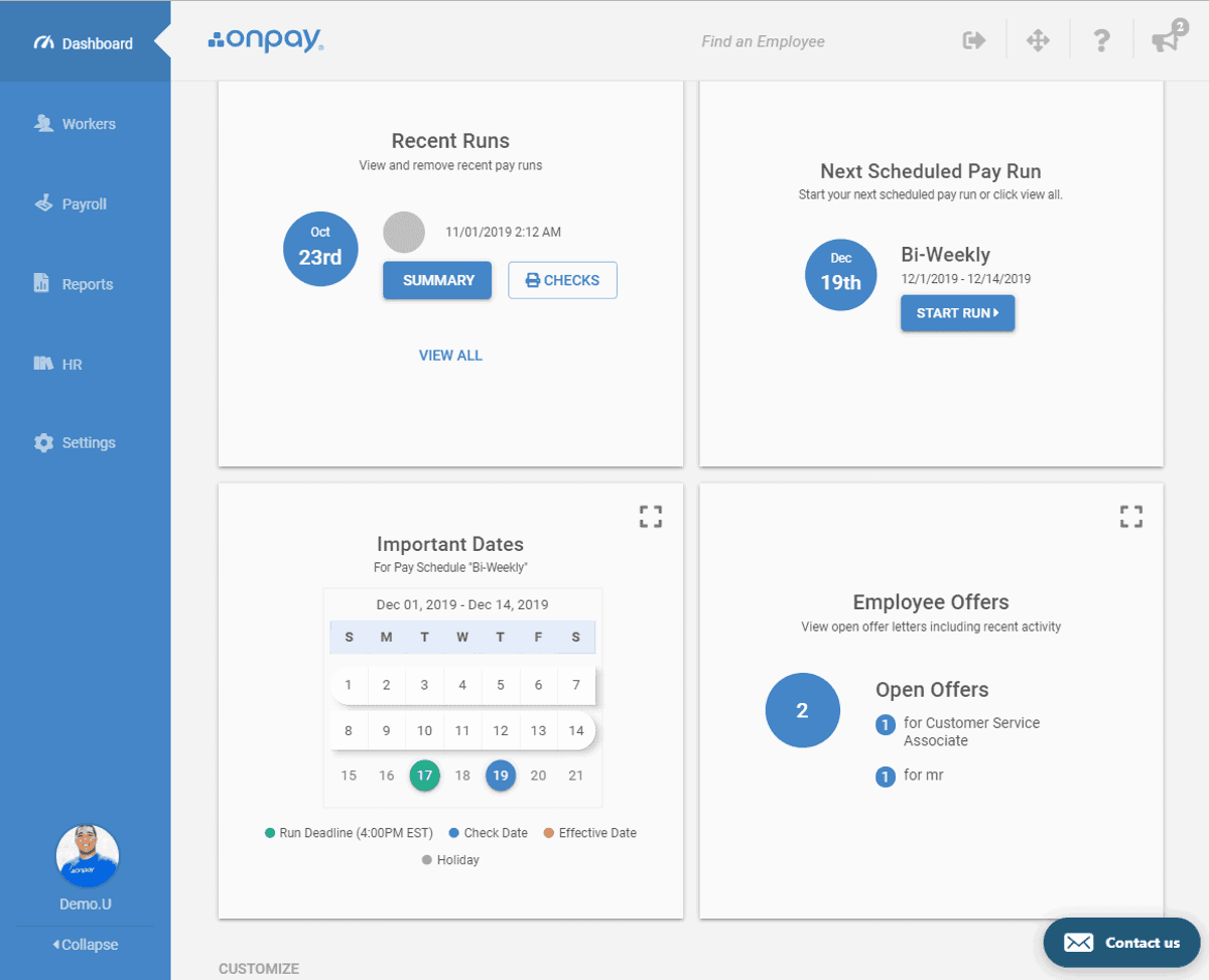 onpay payroll has simple UI