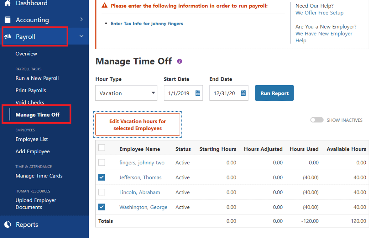 patriot software payroll lets you manage time off