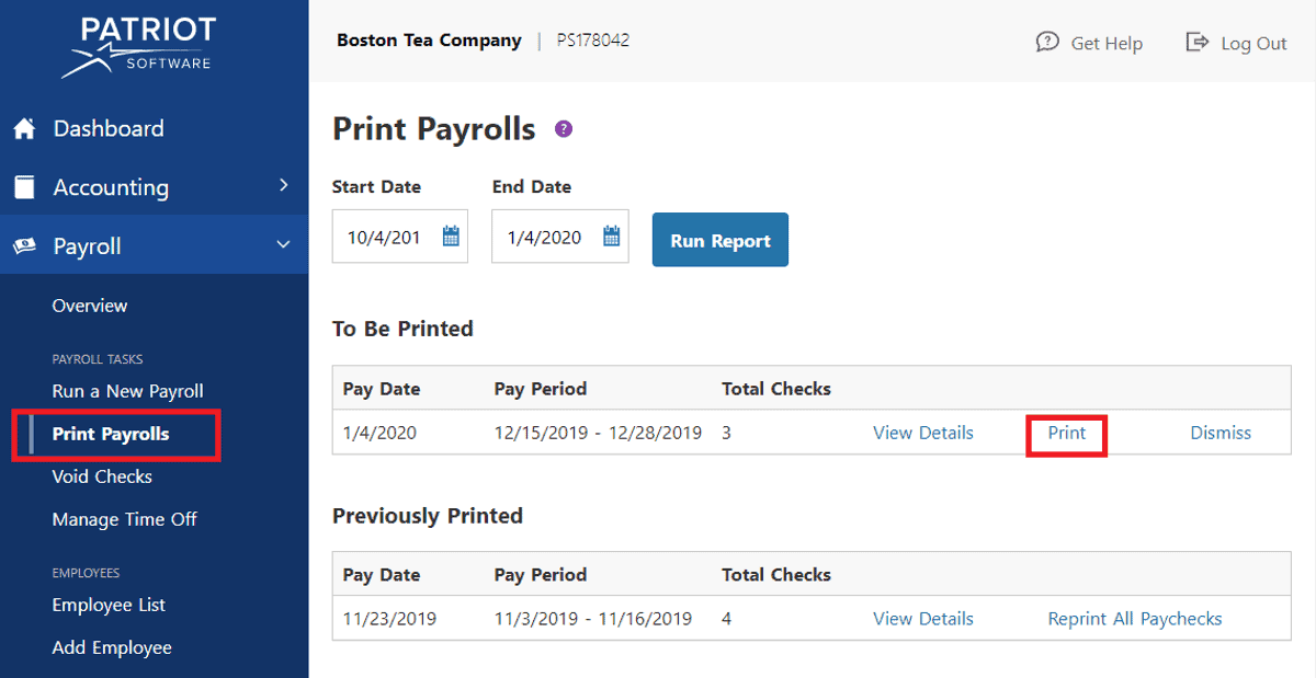 patriot software lets you print paystub