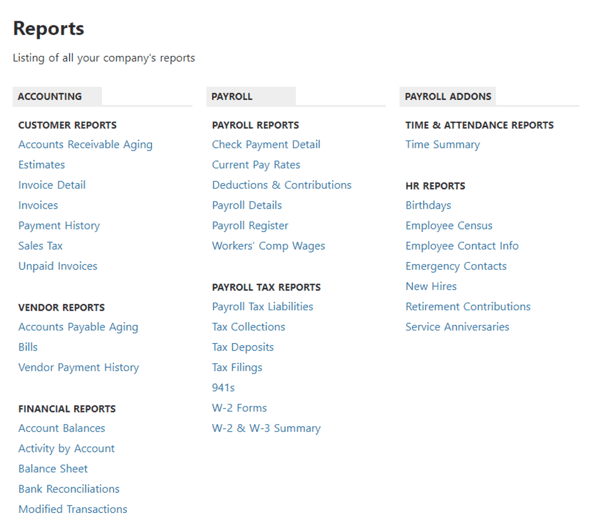 patriot software payroll has tons of reports