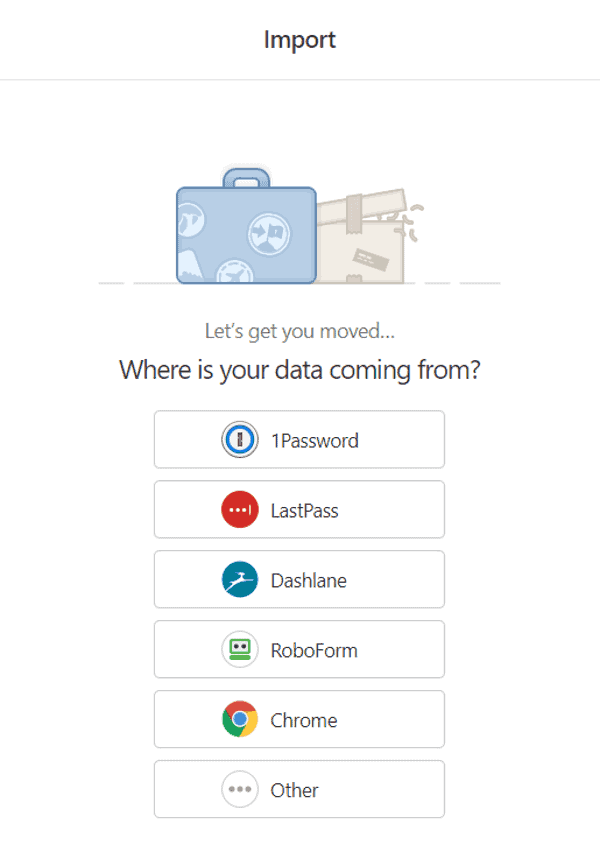 1password can import data from various sources