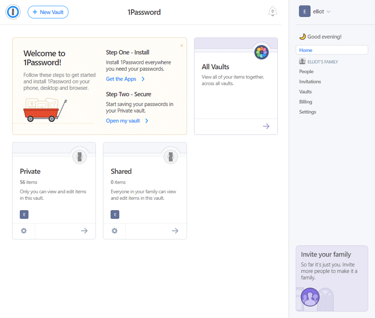 1password navigation pane is on the right