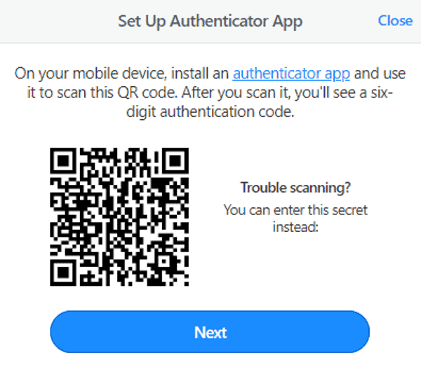 1password use authenticator app to set up 2FA