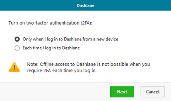 dashlane 2fa additional settings