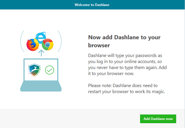 dashlane prompts to download browser extension