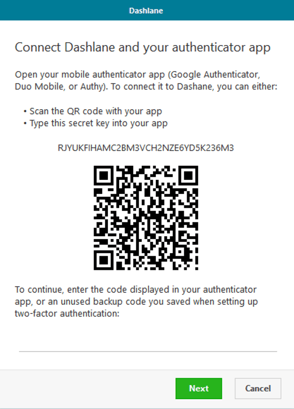 dashlane links with authenticator app with QR