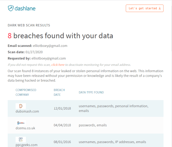 dashlane monitors dark web for leaked information