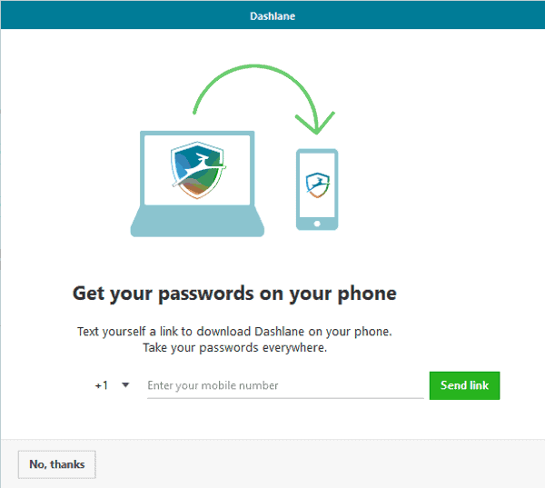 dashlane prompts to download mobile app