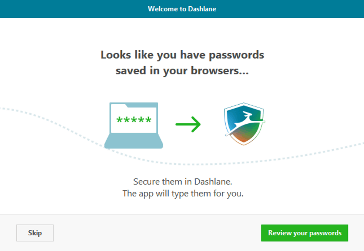 dashlane detects saved password in browsers